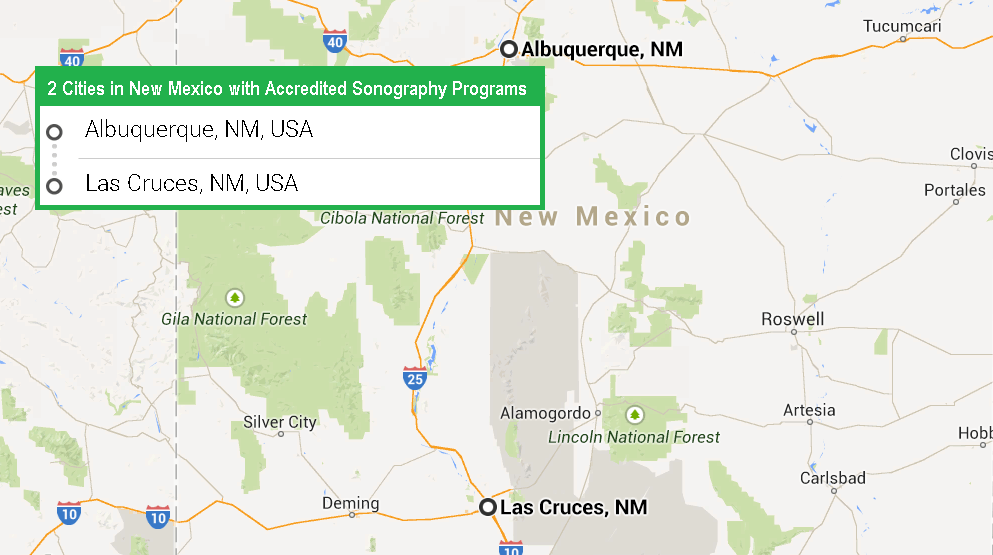 2 cities in New Mexico with accredited ultrasound technician programs in 2017