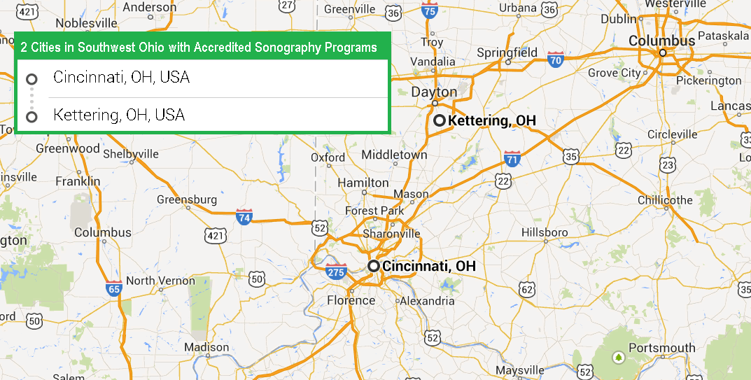 Southwestern Ohio Map.2 Cities In Southwest Ohio With Accredited Ultrasound Technician