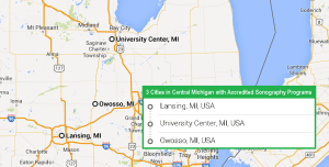 3 cities with accredited ultrasound technician schools in Central Michigan