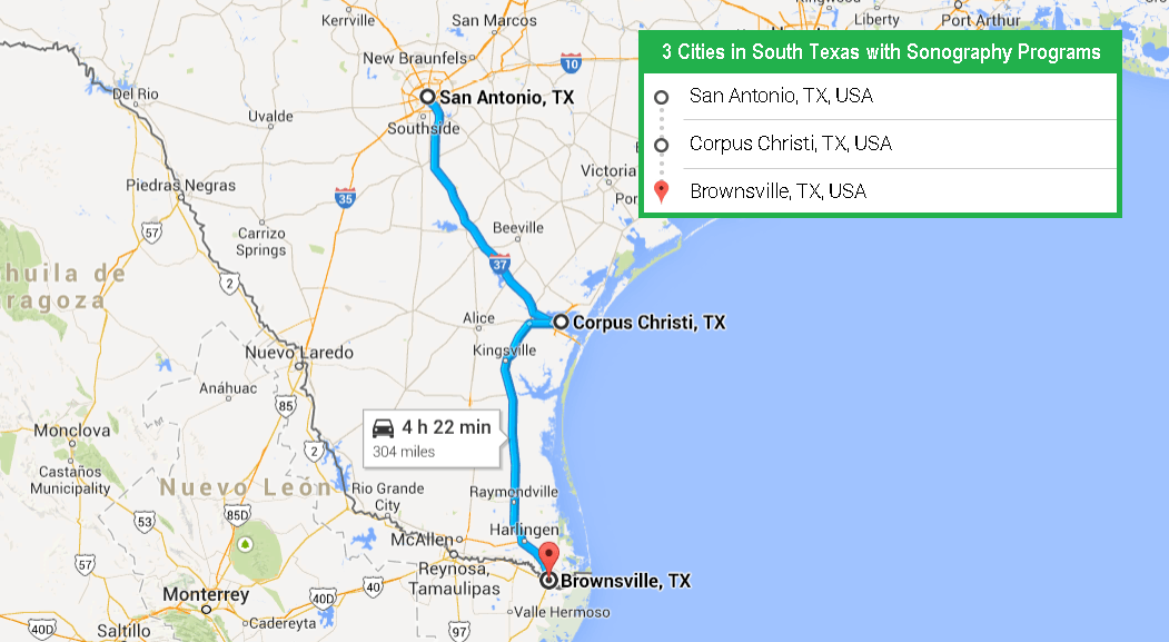 Accredited Ultrasound Technician Schools In Texas Ultrasound - South texas map with cities