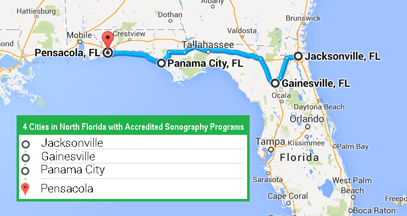 Best Accredited Ultrasound Technician Schools In Florida - Map of northern florida cities