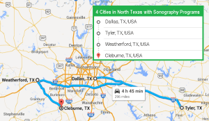 4 cities with ultrasound technician schools in North Texas