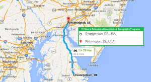 2 cities in Delaware with accredited ultrasound technician programs