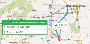 2 cities with accredited ultrasound technician schools in Central North Carolina