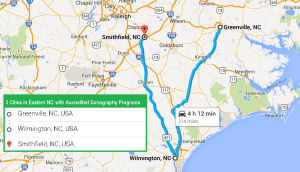 3 cities with ultrasound technician schools in Eastern North Carolina