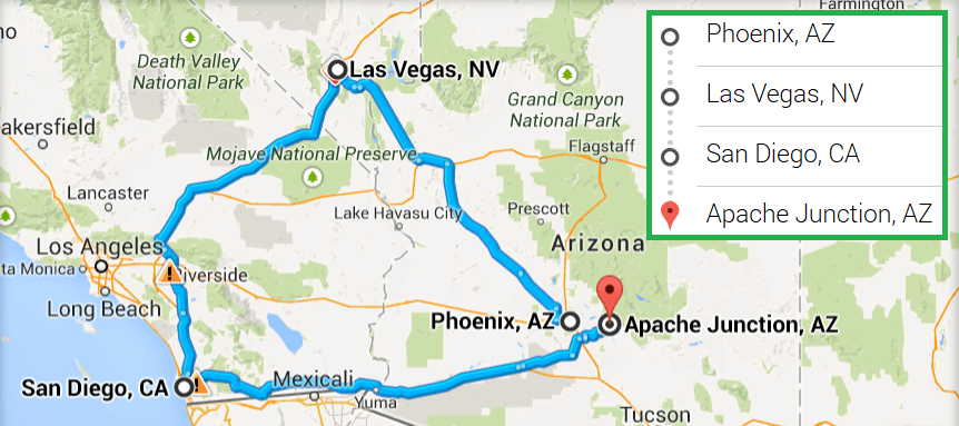 Distance from Phoenix, AZ to San Diego, CA - travelmath.com