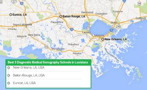 accredited ultrasound technician schools in 3 cities in Louisiana