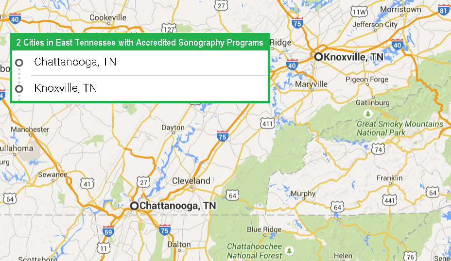 2 Cities in East Tennessee with Accredited Sonography Programs in 2017