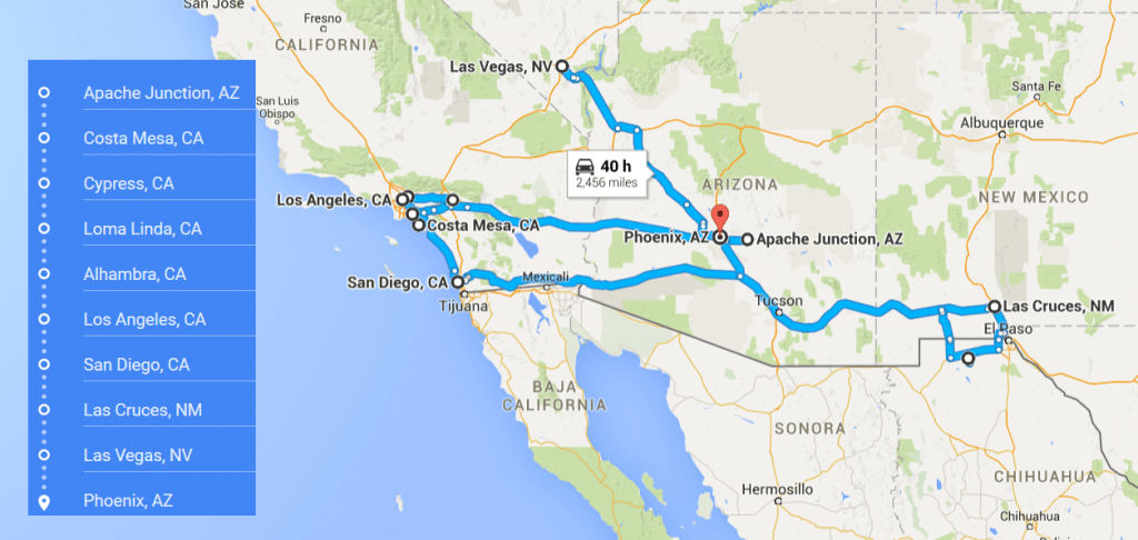 Distance from Phoenix, AZ to San Diego, CA with driving ...