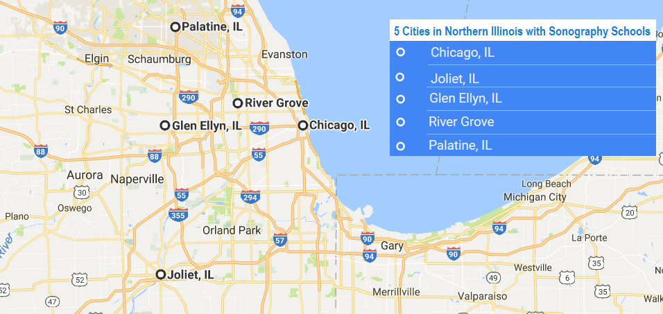cities with ultrasound technician schools in Northern Illinois in 2017