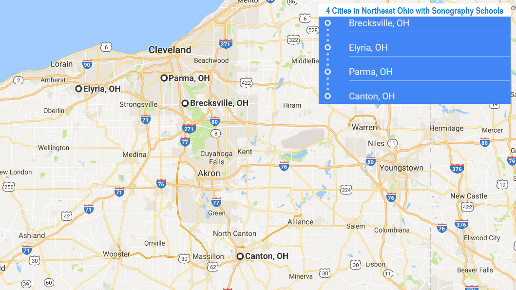 4 cities in Northeast Ohio with accredited ultrasound technician schools
