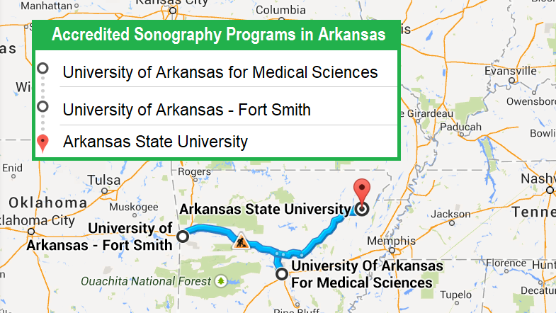 3 schools with accredited ultrasound technician programs in Arkansas in 2018